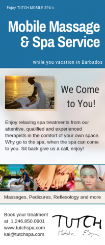 Mobile massage while you vacation in Barbados flier