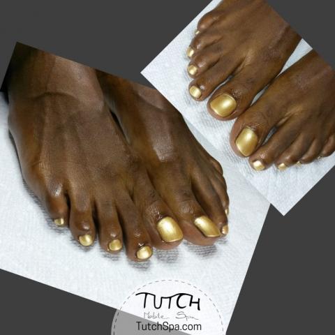 barbados client gold polish pedicure
