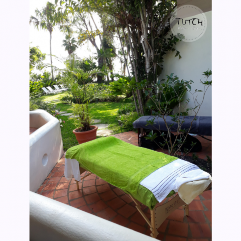 Massage tables ready for a couples massage in a Barbados Villa